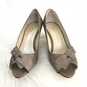 Caparros Heels with Bow in Light Gold